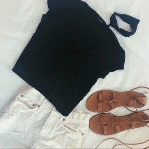 River Island Black Collar Neck Crop Top